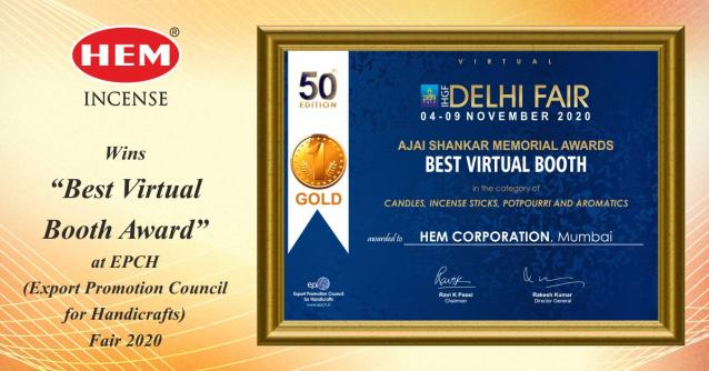 "HEM INCENSE WINS  ""BEST VIRTUAL BOOTH"" AWARD AT 50th EDITION of IGHF fAIR"